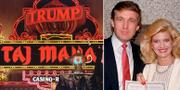 Donald Trumps gamla hotell Taj Mahal i USA. Till höger: Trump och hans ex-fru Ivana Trump.  TT