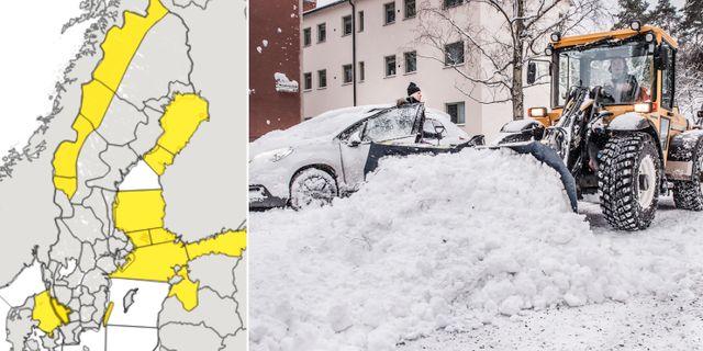 Snö plogas bort vid parkerade bilar efter snöfallet i Stockholm tidigare i veckan. TT / Skärmdump från SMHI