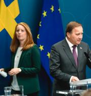 Gunnar Hökmark samt Annie Lööf och Stefan Löfven. TT