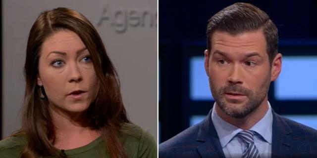 Maria Ferm(MP) och Johan Forsell (M), migrationspolitiska talespersoner för respektive parti i debatt i SVT:s Agenda. SVT