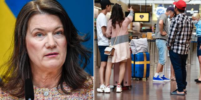 Utrikesminister Ann Linde och resenärer på Arlanda.  TT