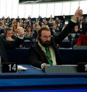 Jozsef Szajer längst till höger.  Jean-Francois Badias / TT NYHETSBYRÅN