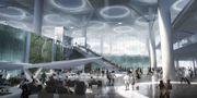 Vad som kommer att bli världens största flygplats har futuristisk design med välvda glastak och robotguider. Pressbild