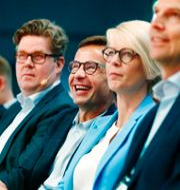 Partisekreterare Gunnar Strömmer (M), partiledare Ulf Kristersson (M) och Elisabeth Svantesson (M), ekonomisk-politisk talesperson. Thomas Johansson/TT / TT NYHETSBYRÅN