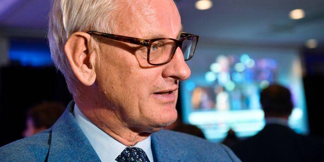 Carl Bildt under Moderaternas valvaka Henrik Montgomery/TT / TT NYHETSBYRÅN