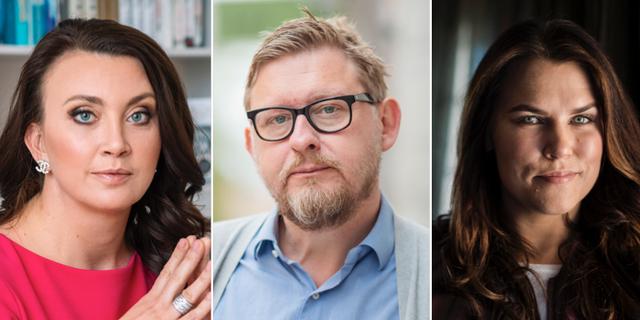 Camilla Läckberg, Fredrik Virtanen, Mia Skäringer. Arkivbilder. TT
