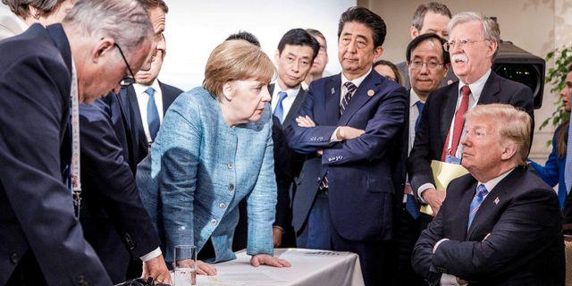 G7-ledarna under fjolårets möte i Kanada. Handout . / TT NYHETSBYRÅN