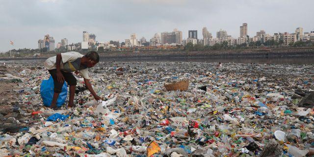 En man samlar återvinningsbar plast i Mumbai i Indien/arkivbild. Rafiq Maqbool / TT NYHETSBYRÅN