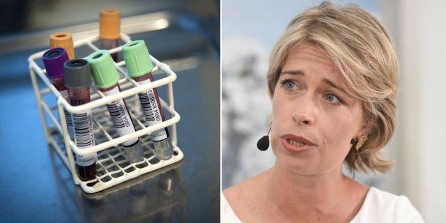 Vänster: PSA-prov i form av ett blodprov. Höger: Socialminister Annika Strandhäll (S). TT