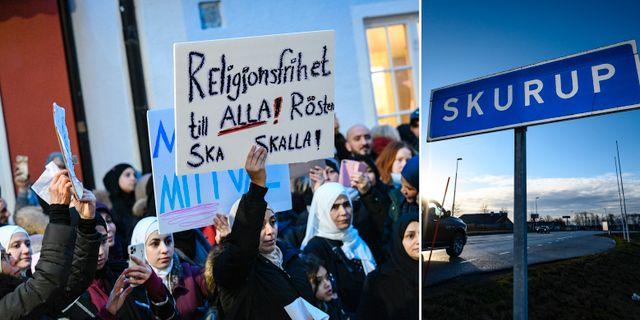 Demonstration mot slöjförbudet i Skurup i januari. TT