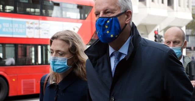 EU:s chefsförhandlare Michel Barnier i London på måndagen Kirsty Wigglesworth / TT NYHETSBYRÅN
