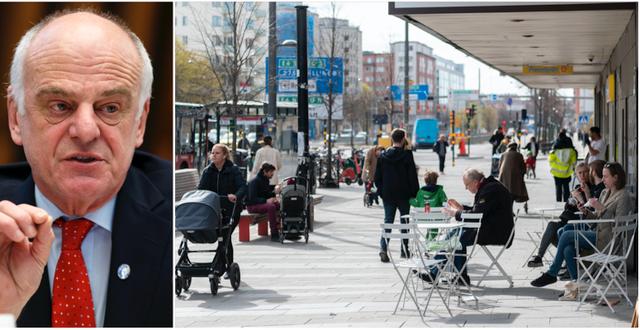 David Nabarro / människor vid Fridhemsplan i Stockholm i april i år TT