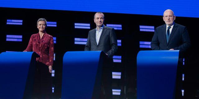 Margrethe Vestager, Manfred Weber och Frans Timmermans. ARIS OIKONOMOU / AFP
