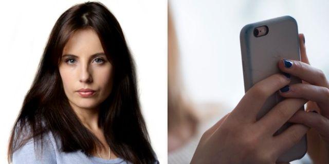Natalia Kazmierska och en arkivbild på en smartphone. Aftonbladet och TT