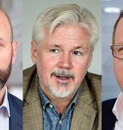 Mattias Dahl, Svenskt Näringsliv, Torbjörn Johansson, LO, och Martin Linder, PTK. Sören Andersson + TT