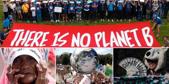 Ett urval av bilder från dagens klimatstrejker. TT/AP