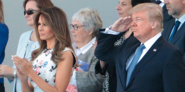 Melania och Donald Trump besökte franska militärparaden den 14 juli förra året.  JOEL SAGET / AFP