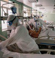 Intensivvårdsavdelning på Vinogradov City Clinical Hospital i Moskva. DIMITAR DILKOFF / TT NYHETSBYRÅN