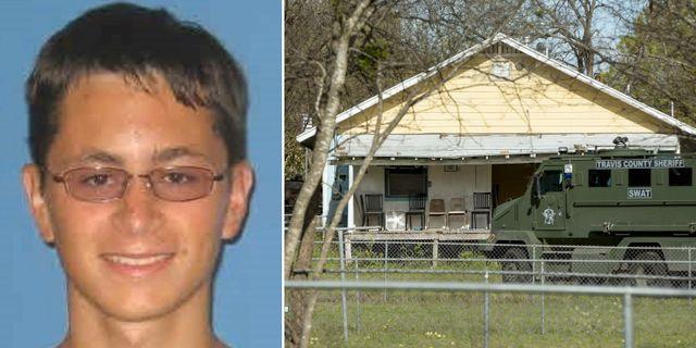 Mark Conditt,/Polis utanför huset där han bodde i Pflugerville, Texas.  TT
