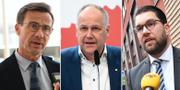M-ledaren Ulf Kristersson, V-ledaren Jonas Sjöstedt och SD-ledaren Jimmie Åkesson.  TT