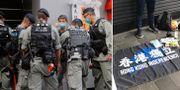 Polis i Hongkong/Flaggan som den gripne mannen höll i. TT/Polisen på Twitter