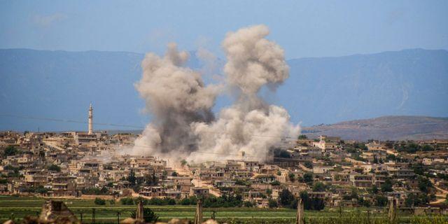 Bild från staden al-Habeet i södra Idlib i Syrien förra veckan. Uncredited / TT NYHETSBYRÅN/ NTB Scanpix