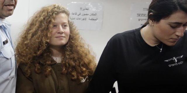 Ahed Tamimi, 15 januari, i ett fängelse nära Jerusalem. Mahmoud Illean / TT NYHETSBYRÅN