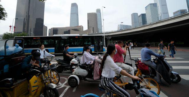 Rusningstrafik i Peking.  Ng Han Guan / TT NYHETSBYRÅN