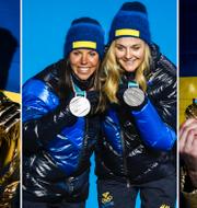 Myhrer, Kalla, Nilsson och Hansdotter med sina OS-medaljer. TT