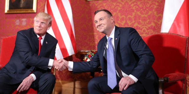 Donald Trump och Andrzej Duda. HANDOUT / TT NYHETSBYRÅN