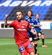 Andreas Blomqvist måljublar för Norrköping. Stina Stjernkvist/TT / TT NYHETSBYRÅN