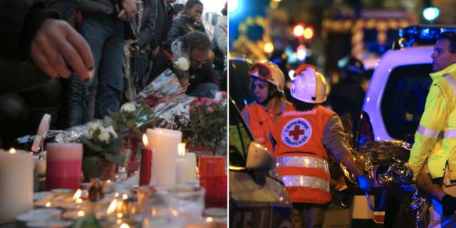 Minnesceremoni (v) och från räddningsinsatsen 2015 (h)  TT