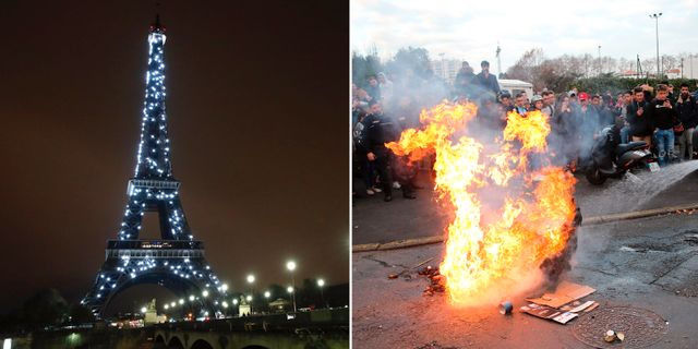 Eiffeltornet. Protesterna i Frankrike. TT