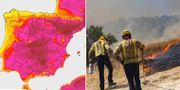 Karta över Spanien och brandmän som kämpar mot lågorna.  TT.