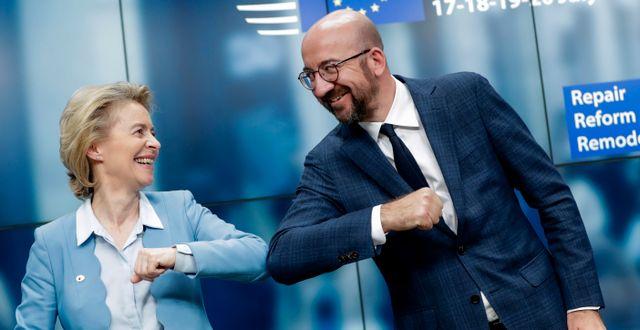 Ursula von der Leyen och Charles Michel. Stephanie Lecocq / TT NYHETSBYRÅN