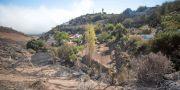 Bondgårdar brändes i skogsbranden, Santa Maria de Guia på Gran Canaria.  DESIREE MARTIN / AFP