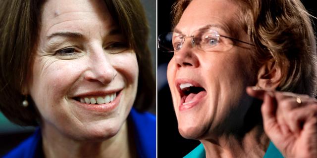 Amy Klobuchar och Elizabeth Warren. TT