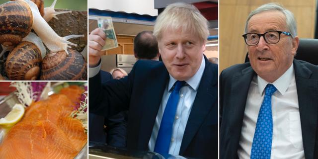 Boris Johnson och Jean-Claude Juncker ska enligt uppgifter äta lunch. På bilden syns snäckor som fötts upp i Bulgarien för att serveras och kallrökt lax.  TT