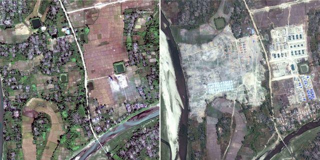 Flygbilder visar hur rohingyska byar har jämnats med marken. TT / NTB Scanpix