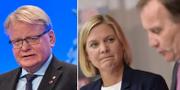 Peter Hultqvist, Magdalena Andersson och Stefan Löfven.  TT