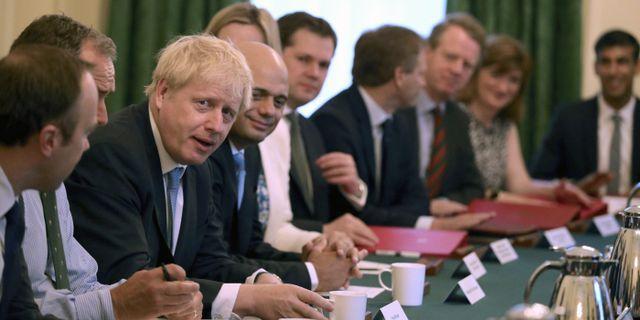 Boris Johnson med flera.  TT.