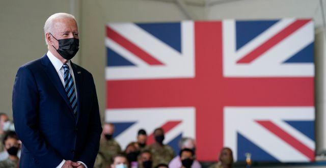 Joe Biden på plats i Storbritannien. Patrick Semansky / TT NYHETSBYRÅN