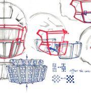 Ritningar på prototyperna för NFL:s ansiktsvisir. TT NYHETSBYRÅN