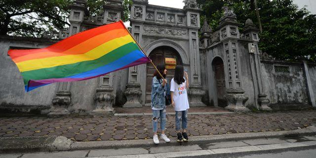 Bild från prideparaden i Hanoi på söndagen. NHAC NGUYEN / AFP