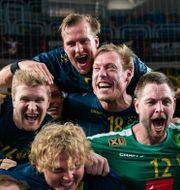 Jubel efter segern mot Frankrike i semifinalen. MATHIAS BERGELD / BILDBYRÅN