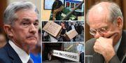 Arkivbilder: Fed-chefen Jerome Powell, riksbankschefen Stefan Ingves (th), bilder från Lehman Brothers kollaps 2008 (mitten). TT