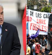 Sebastian Pinera samt människor som protesterar i landet. TT