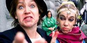 En manifestation år 2000 för scenkonstnärers rätt till A-Kassa. Skådespelarna Lis Hellström och Kristina Borgkrans. TT
