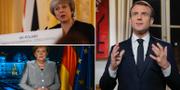 May, Merkel och Macron. TT