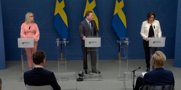 Lena Hallengren, Stefan Löven och Isabella Lövin. Regeringen
